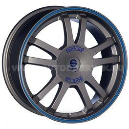 Sparco Rally 7.5x17/5x108 ET45 D73.1 Matt Silver Tech blue lip