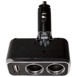 Разветвитель Zeus для прикуривателя 2 гнезда + USB